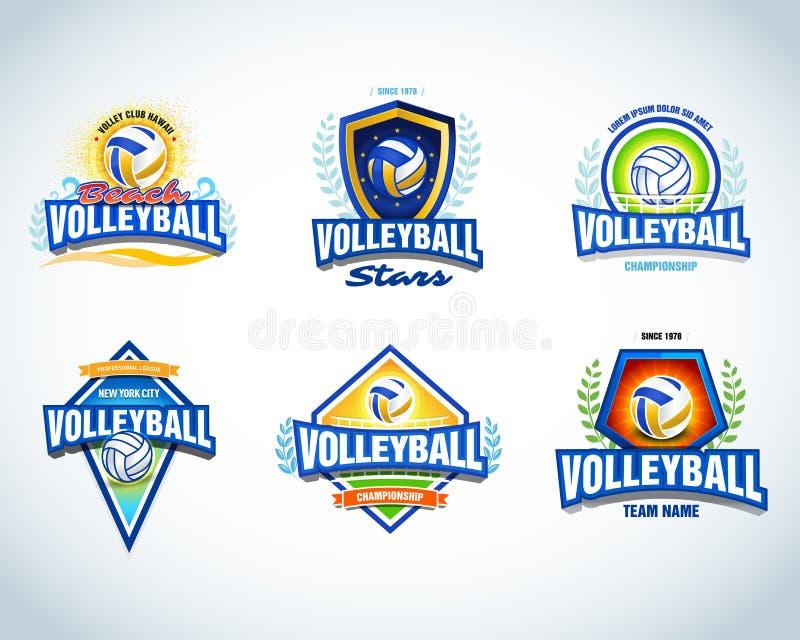 Siatkówka loga szablony ustawiający Siatkówka emblemat, logotypu szablon, koszulki odzieży projekt Siatkówki piłka ilustracji