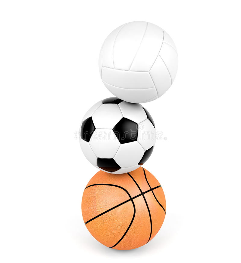 Siatkówka, piłki nożnej piłka, koszykówka, sport piłki odizolowywać na białym tle zdjęcie royalty free