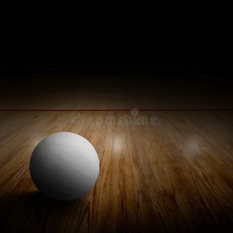 Siatkówka sąd Z piłką na Drewnianej podłoga i kopii przestrzeni obraz royalty free