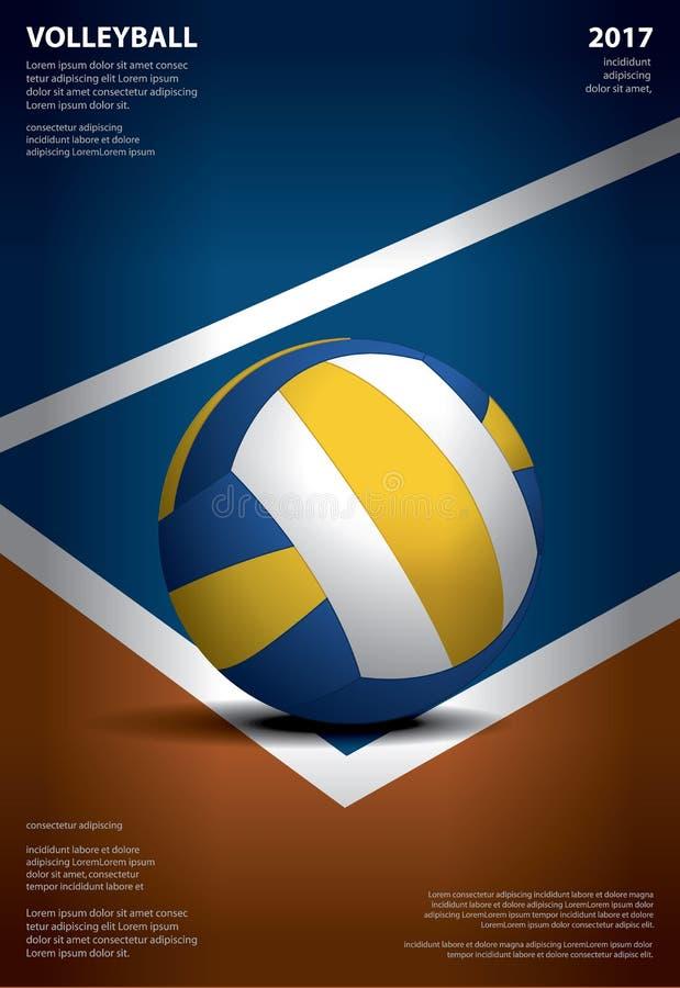 Siatkówka turnieju szablonu Plakatowy projekt ilustracja wektor