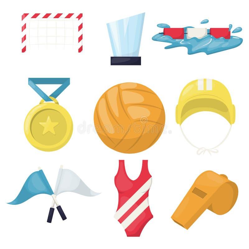 Siatkówka wodnego sporta gracza akcesoriów beachball ikon wektoru ilustracja Zdrowej salwy szkolenia balowy basen Woda royalty ilustracja