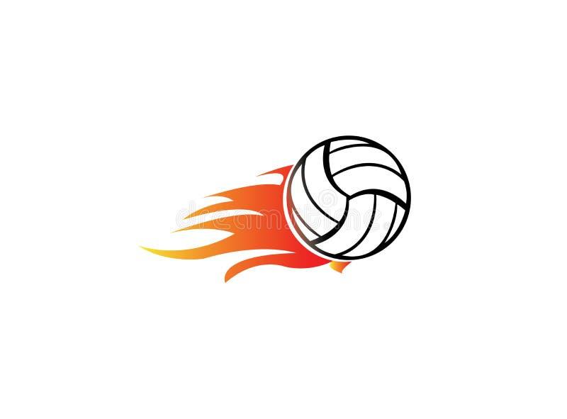 Siatkówka z ogieniem i płomieniem dla logo projekta ilustracji