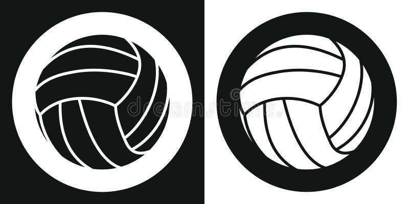 Siatkówki piłki ikona Sylwetki siatkówki piłka na czarny i biały tle barwnik urządzeń sportowych na ilustracyjna wody również zwr ilustracja wektor