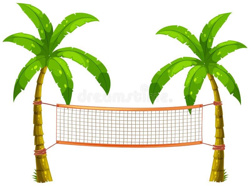 Siatkówki sieć na kokosowych drzewach ilustracji