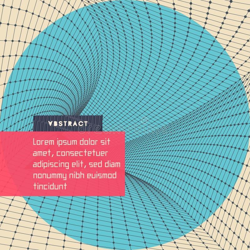 siatka abstrakcjonistyczny tunel 3d ilustracja wektor Może używać jako cyfrowa dynamiczna tapeta, technologii tło ilustracji