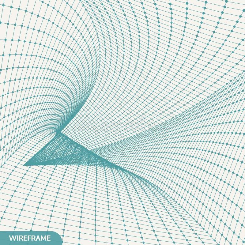 siatka abstrakcjonistyczny tunel 3d ilustracja wektor Może używać jako cyfrowa dynamiczna tapeta royalty ilustracja