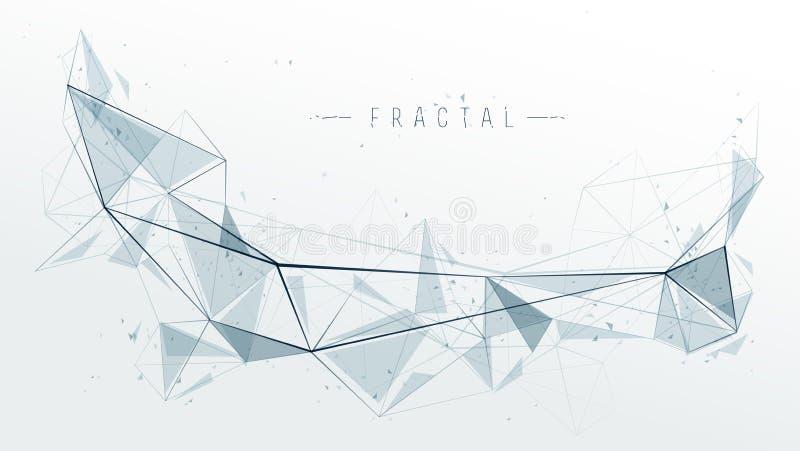 Siatka przedmiota fractal projekt z związanych linii wektorowym abstrakcjonistycznym tłem, niscy poli- poligonalni elementy w 3D  royalty ilustracja