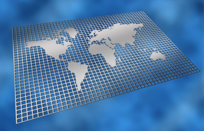 siatki mapy świata metali royalty ilustracja