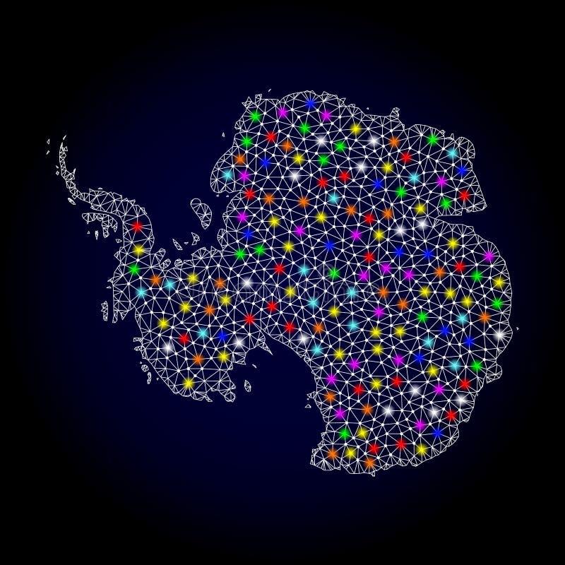 Siatki sieci mapa Antarctica z Kolorowymi Lekkimi punktami royalty ilustracja