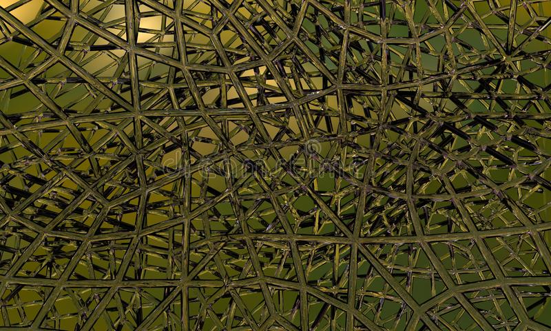 Siatki struktura, zielona szklana tubka pokrywa się na zielonej otwartej przestrzeni ilustracja wektor