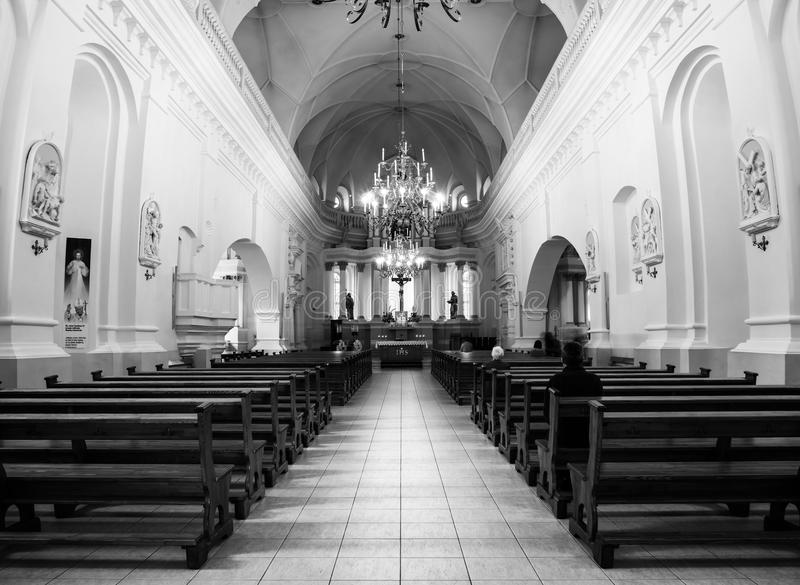 Inside St Peter and Paul Cathedral in Siauliai, Lithuania. SIAULIAI, LITHUANIA - SEPTEMBER 4, 2016: Inside St Peter and Paul Cathedral in Siauliai, Lithuania royalty free stock image