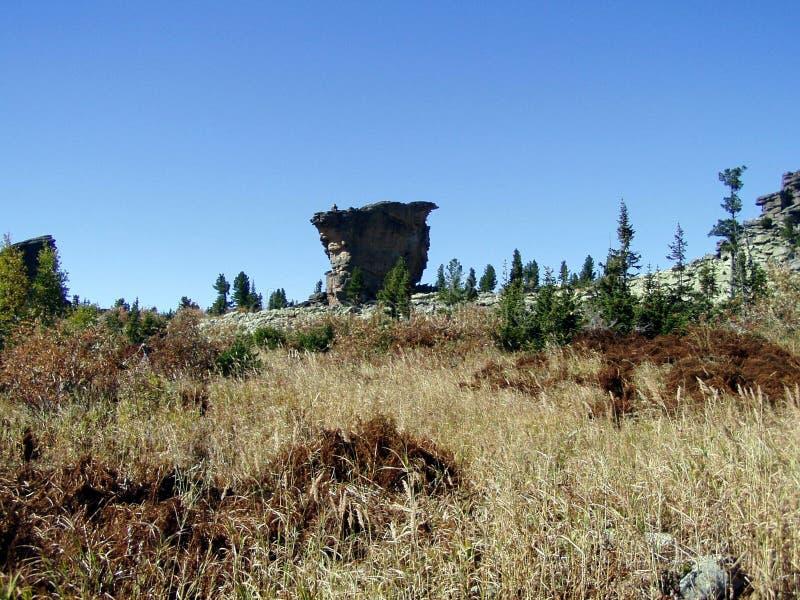 Sibéria, Pedra-heliporto, rocha só fotografia de stock royalty free