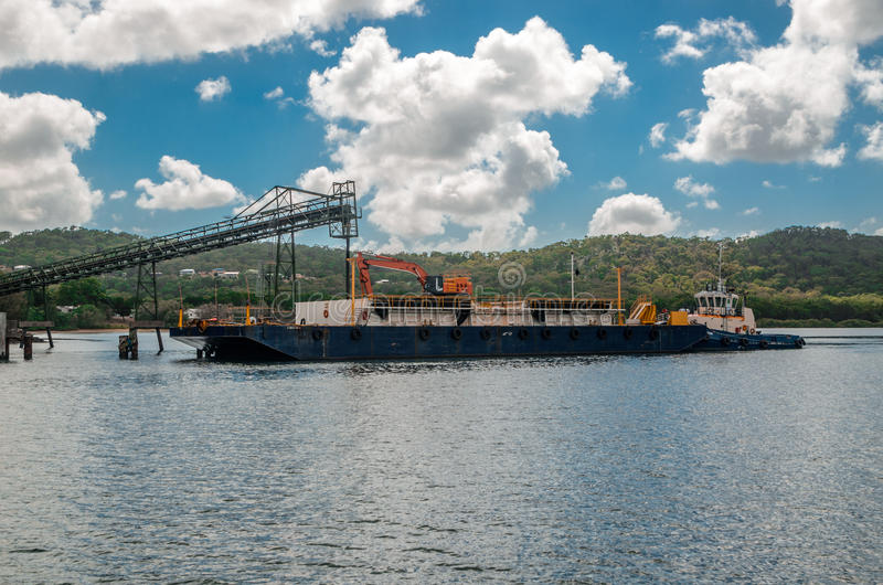 Sibelco Sand-mining barge stock images