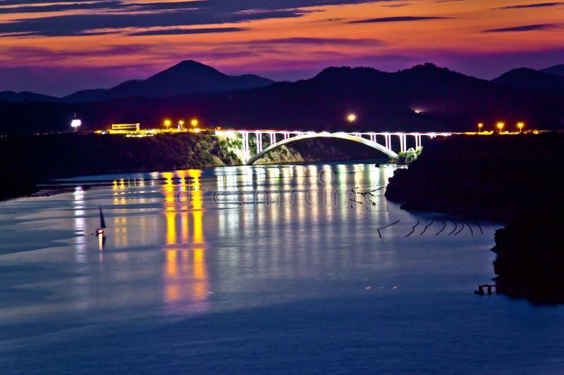 Sibenik bay bridge dusk view. Dalmatia, Croatia royalty free stock photo