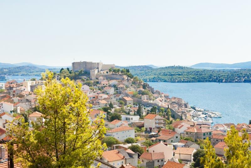 Sibenik, Chorwacja - widok z lotu ptaka na starego miasteczko Sibenik obrazy stock
