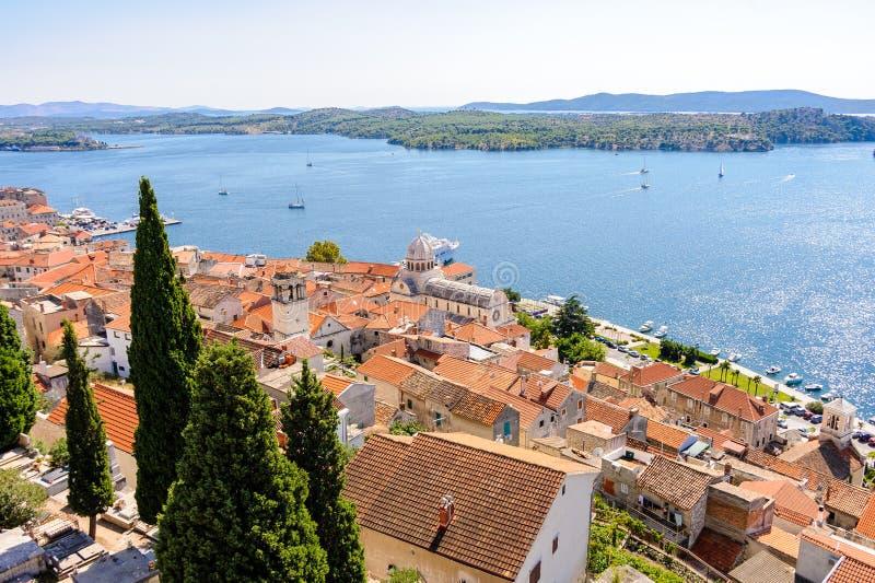 Sibenik Chorwacja widok z lotu ptaka Sibenik fotografia royalty free