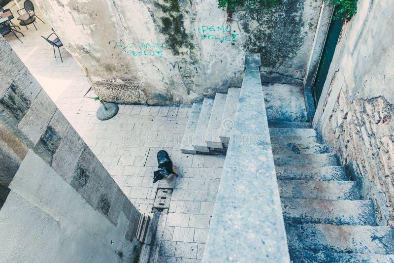 SIBENIK Kroatien-Maj 26,2017: Scenisk sikt på medelhavs- smala gator och historisk traditionell arkitektur i Kroatien, Europa arkivfoto