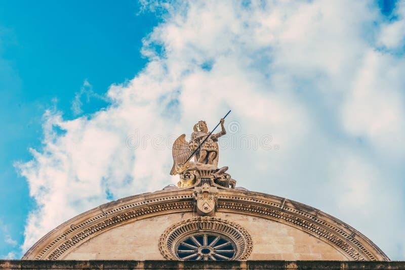 SIBENIK Kroatien-Maj 26,2017: St James domkyrka i Sibenik, UNESCOvärldsarv i Kroatien Sibenik domkyrkan, Kroatien fotografering för bildbyråer
