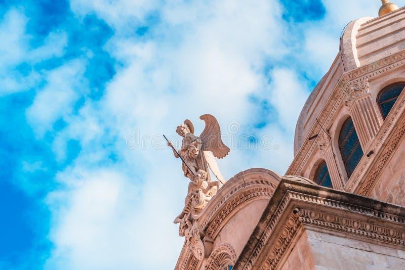 SIBENIK Kroatien-Maj 26,2017: St James domkyrka i Sibenik, UNESCOvärldsarv i Kroatien Sibenik domkyrkan, Kroatien royaltyfri bild