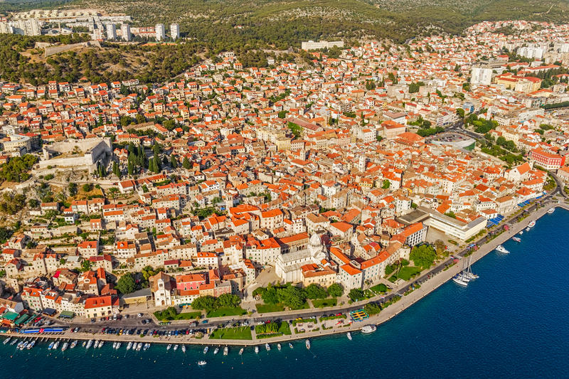 Download Sibenik old town stock image. Image of aerial, church - 27099095
