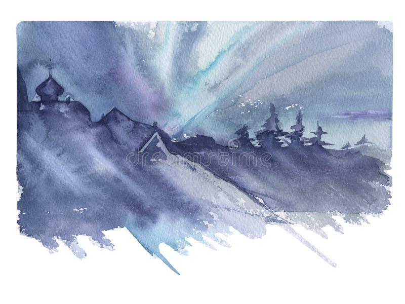 siberia abstrakcjonistyczny tło zaświeca północnego wektor royalty ilustracja