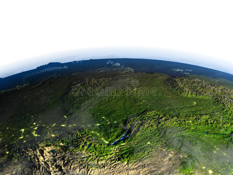 Siberia on Earth - visible ocean floor. Siberia on 3D model of Earth. 3D illustration with plastic planet surface and ocean floor. Elements of this image vector illustration