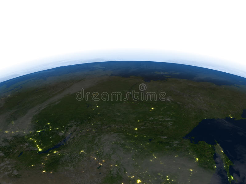 Siberia at night on planet Earth. Siberia at night. 3D illustration with detailed planet surface and visible city lights. Elements of this image furnished by stock illustration