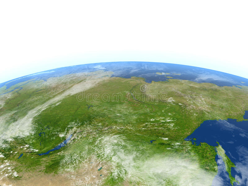Siberia on planet Earth. Siberia. 3D illustration with detailed planet surface. Elements of this image furnished by NASA stock illustration
