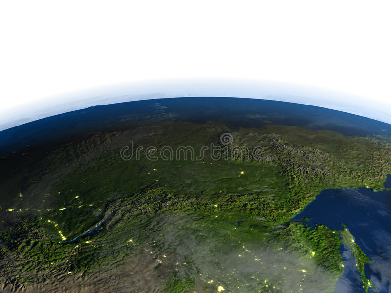 Siberia on planet Earth. Siberia. 3D illustration with detailed planet surface. Elements of this image furnished by NASA royalty free illustration