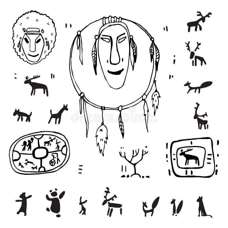Siberia. Primitive painting set. Hand drawn illustration. Design element vector illustration
