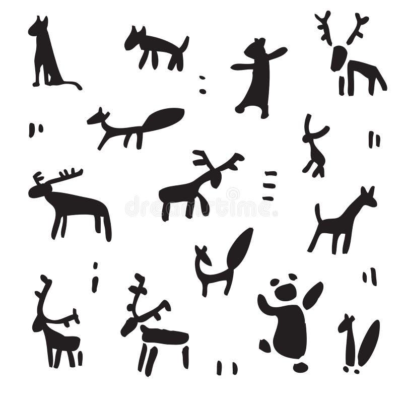 Siberia. Primitive painting set. Hand drawn vector illustration. Design element stock illustration