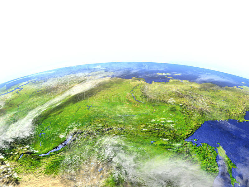 Siberia on realistic model of Earth. Siberia on model of Earth. 3D illustration with realistic planet surface. Elements of this image furnished by NASA vector illustration