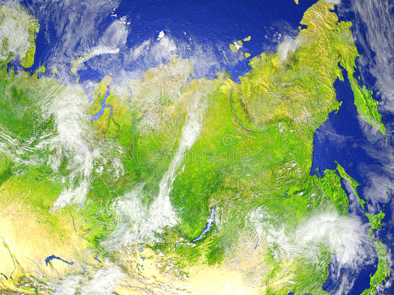 Siberia on realistic model of Earth. Siberia on model of Earth. 3D illustration with realistic planet surface. Elements of this image furnished by NASA stock illustration