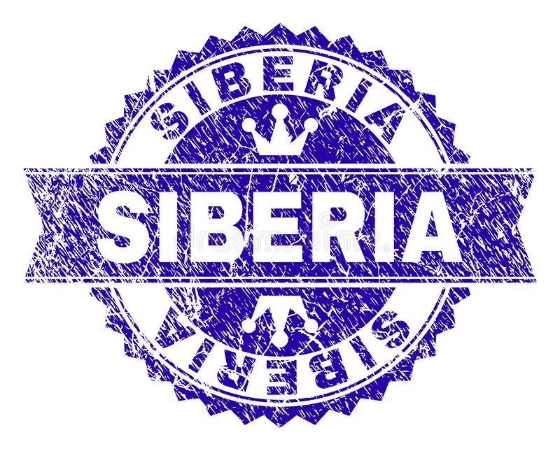 Grunge Textured SIBERIA Stamp Seal with Ribbon. SIBERIA rosette stamp watermark with distress style. Designed with round rosette, ribbon and small crowns. Blue stock illustration