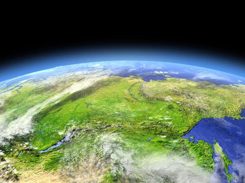 Siberia from space. Siberia as seen from earth's orbit in space on bright day. 3D illustration with detailed planet surface. Elements of this image furnished by royalty free illustration