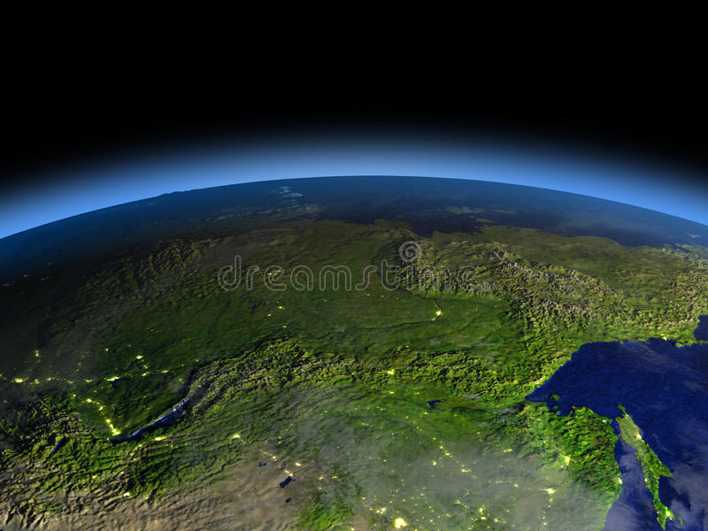 Siberia from space on early morning. Early morning above Siberia from Earth's orbit in space. 3D illustration with detailed planet surface. Elements of this stock illustration
