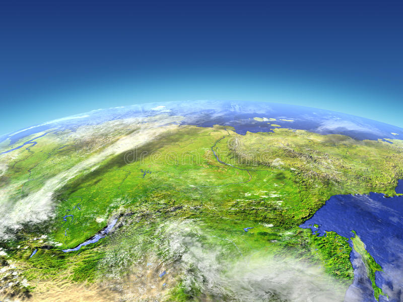 Siberia from space. Siberia from Earth's orbit in space. 3D illustration with detailed planet surface. Elements of this image furnished by NASA royalty free illustration