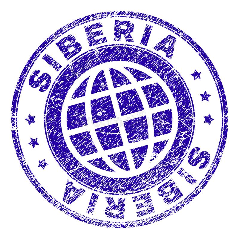 Scratched Textured SIBERIA Stamp Seal. SIBERIA stamp imprint with grunge style. Blue vector rubber seal imprint of SIBERIA caption with grunge texture. Seal has royalty free illustration