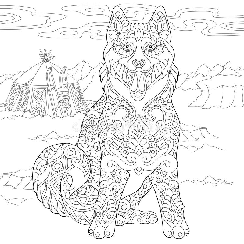 Siberian Husky Dog de Zentangle ilustração do vetor