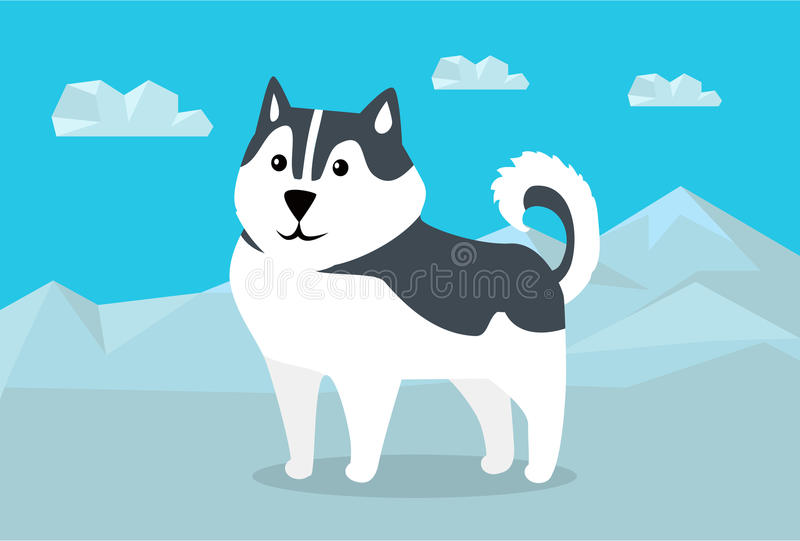 Siberian Husky Illustration in Flat Design. Siberian husky dog breed on snowy mountains background. Flat design. Domestic friend and companion animal. For vector illustration