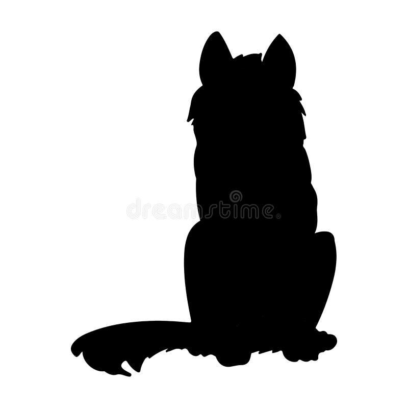 Siberian skrovlig eller Laika hundkontur Tamdjur eller husdjur stock illustrationer