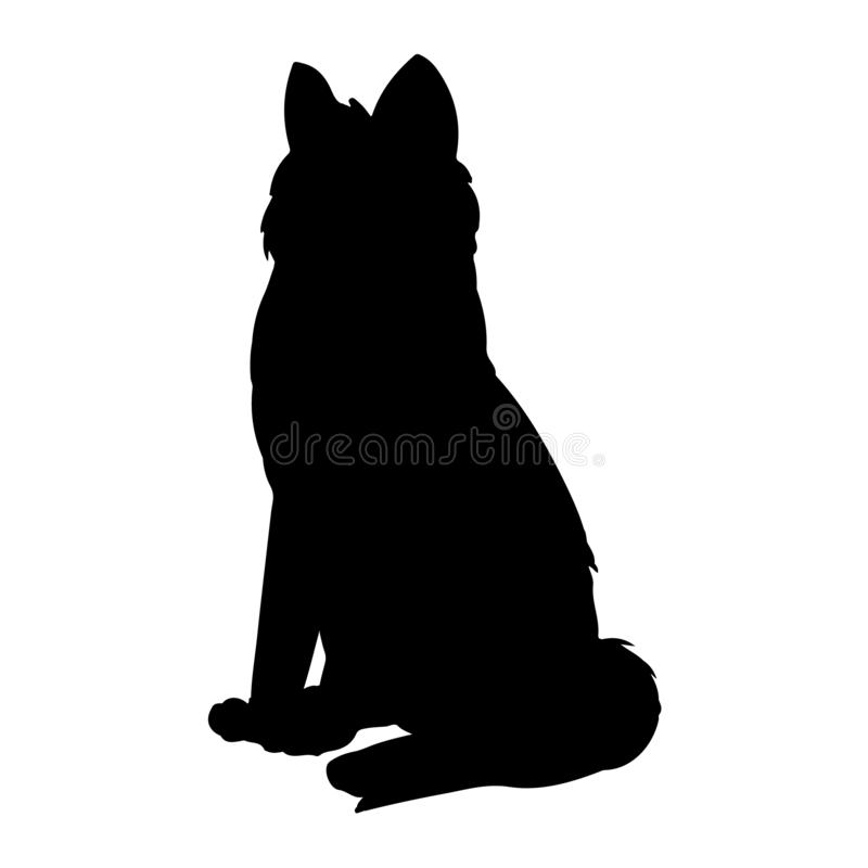 Siberian skrovlig eller Laika hundkontur Tamdjur eller husdjur royaltyfri illustrationer