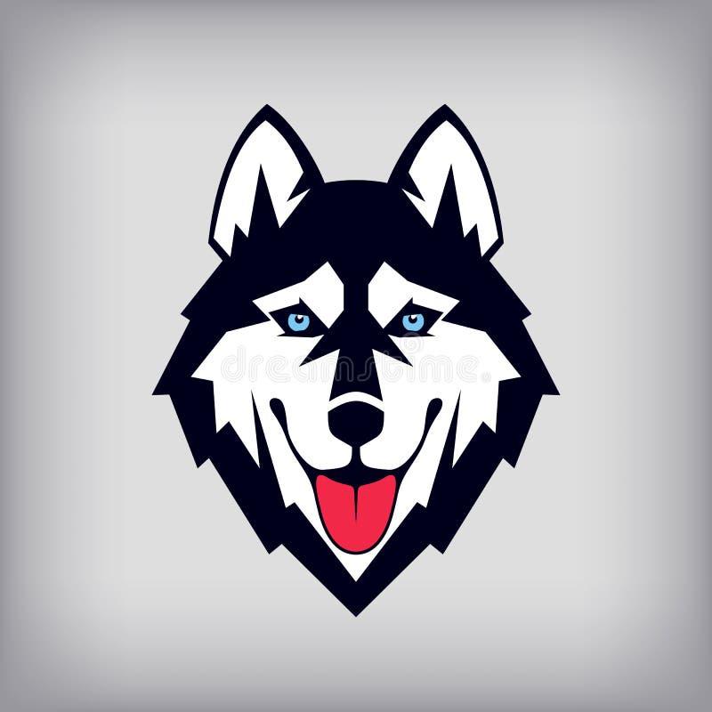 Siberian skrovlig head logo eller symbol Godmodiga hundshower dess tunga royaltyfri illustrationer