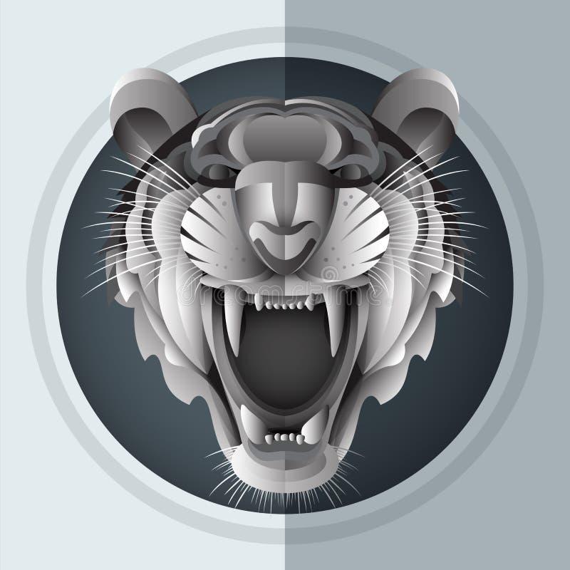 Siberian tiger för morrande stock illustrationer