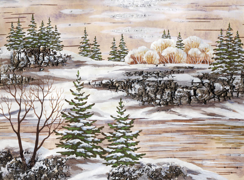 Download The Siberian winter lake stock illustration. Image of design - 15261486