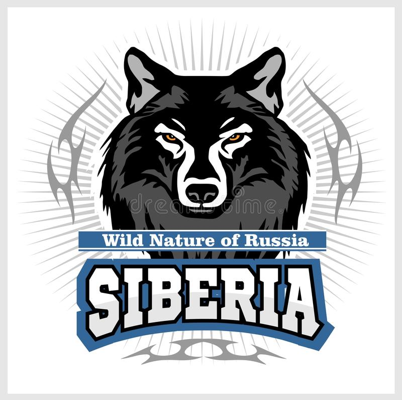 Siberian Wolf - a wolf head on the white background. Russian Siberia - vector emblem. Wild nature of Russia royalty free illustration