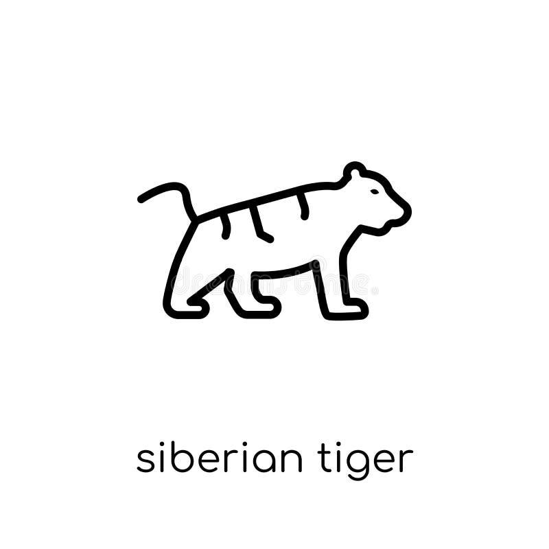 Siberisch tijgerpictogram In modern vlak lineair vector Siberisch t stock illustratie
