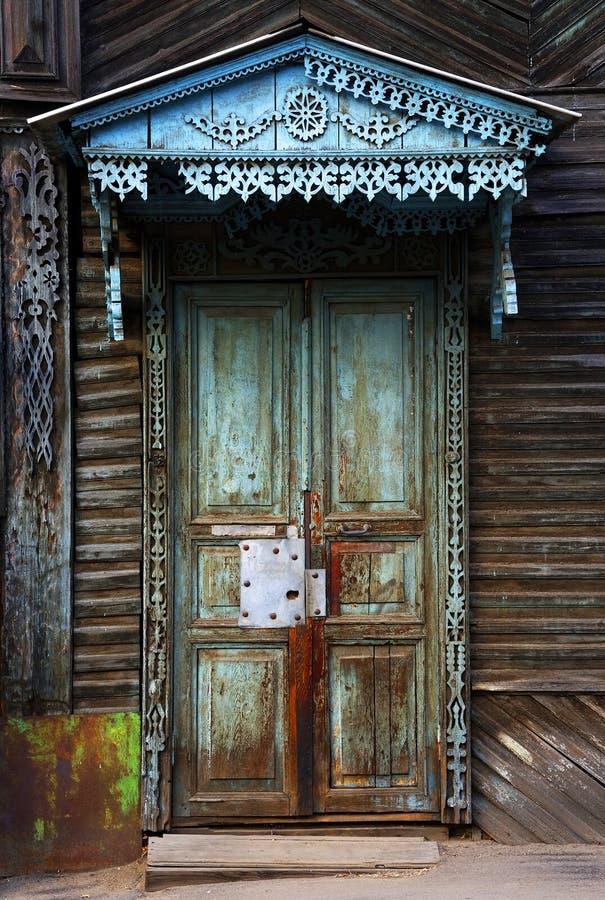 Siberische houten architectuur, Olkhon-Eiland royalty-vrije stock afbeeldingen