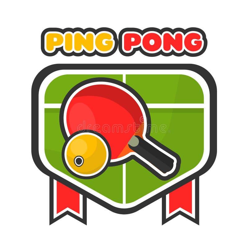 Sibile o logotype colorido do jogo do pong com tabela e raquete ilustração stock