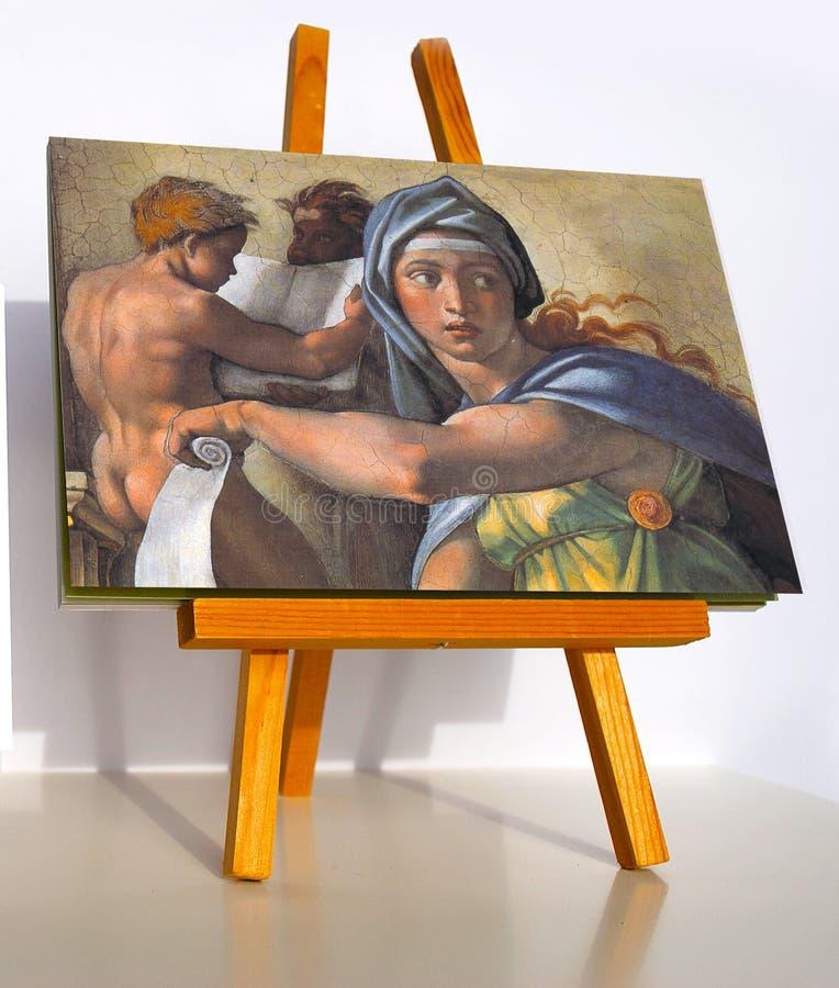 Sibilla delfica dell'affresco di Michelangelo immagine stock